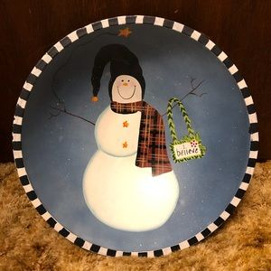 Other - Adorable Christmas Snowman Wooden Bowl, NWT!!